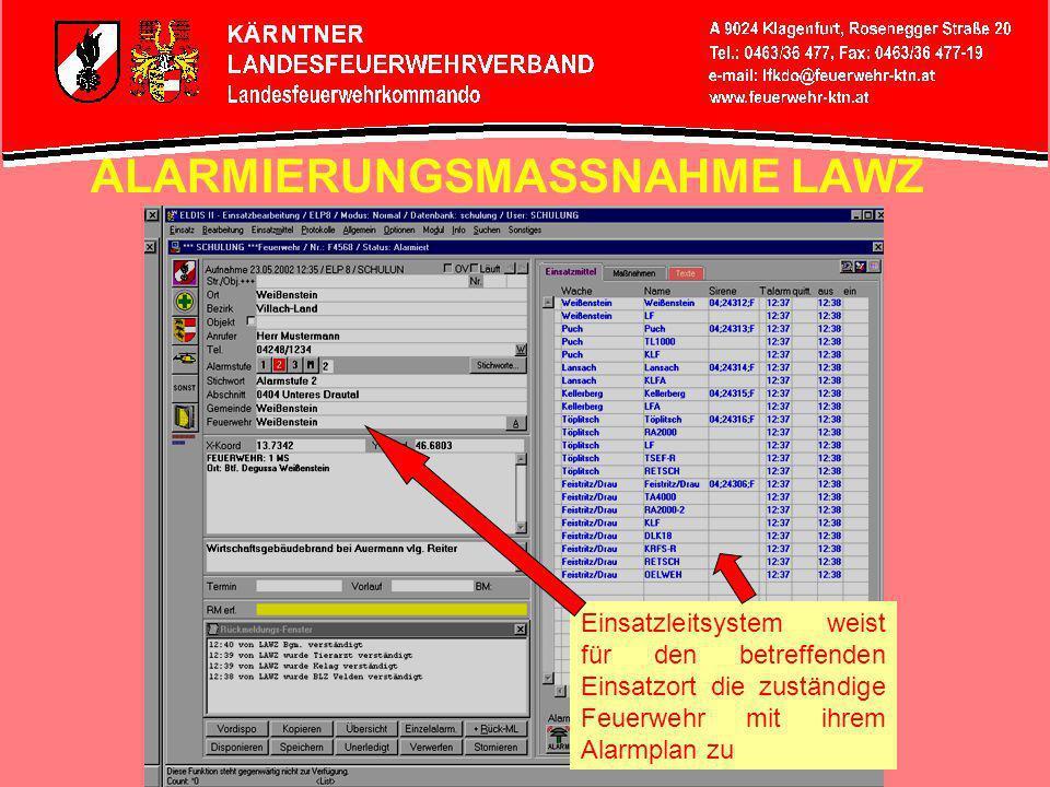 NOTRUFAUFNAHME LAWZ gleichzeitige Anzeige des Einsatzortes am Grafikbildschirm, stufenlos zoombar