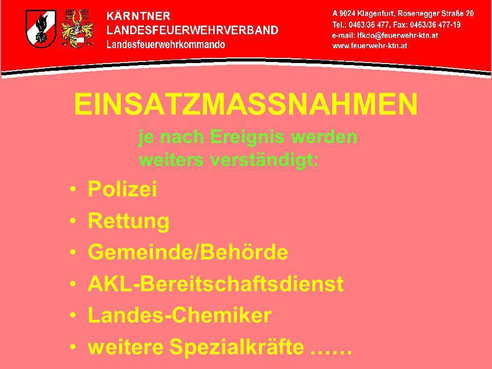 ALARMIERUNGSMASSNAHME LAWZ LAWZ-Bediener löst Sirenenalarm bei den betreffenden Feuerwehren aus: Weißenstein