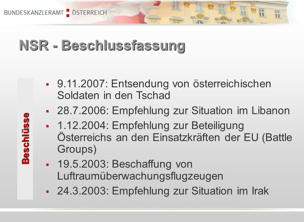 NSR - Beschlussfassung 9.11.2007: Entsendung von österreichischen Soldaten in den Tschad 28.7.2006: Empfehlung zur Situation im Libanon 1.12.2004: Emp