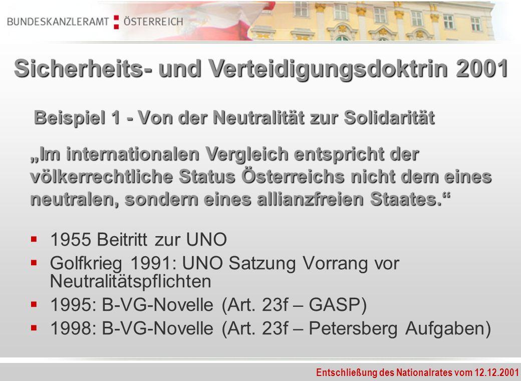 Beispiel 1 - Von der Neutralität zur Solidarität 1955 Beitritt zur UNO Golfkrieg 1991: UNO Satzung Vorrang vor Neutralitätspflichten 1995: B-VG-Novell