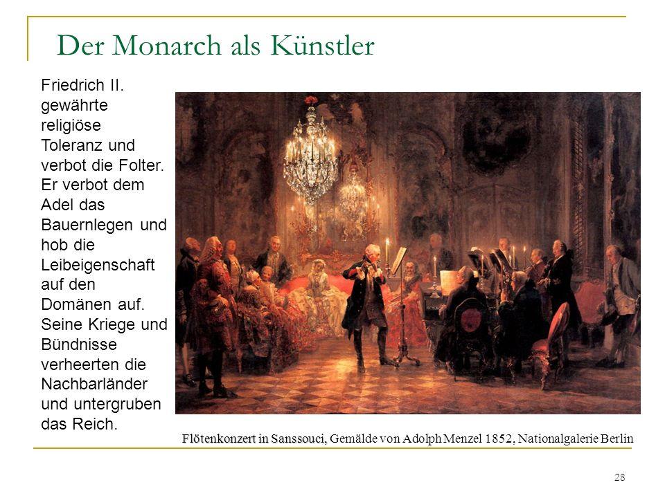 28 Der Monarch als Künstler Flötenkonzert in Sanssouci, Flötenkonzert in Sanssouci, Gemälde von Adolph Menzel 1852, Nationalgalerie Berlin Friedrich II.