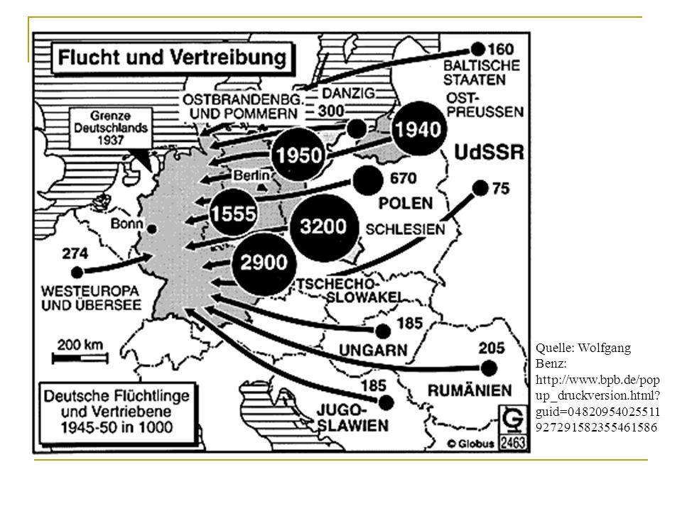 Flucht und Vertreibung Quelle: Wolfgang Benz: http://www.bpb.de/pop up_druckversion.html.