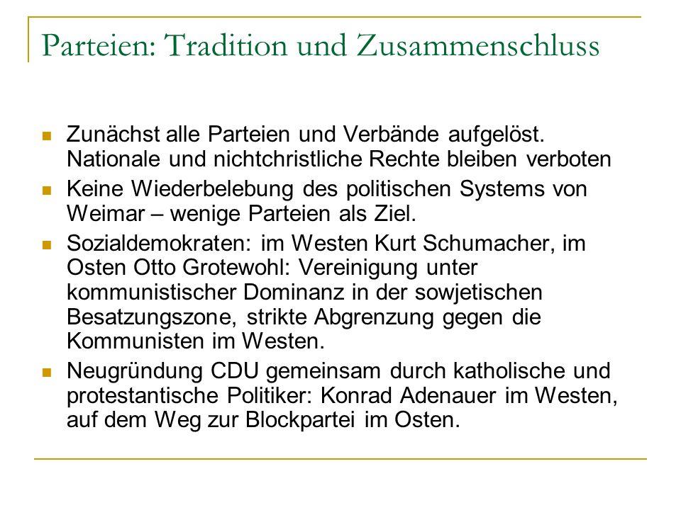 Parteien: Tradition und Zusammenschluss Zunächst alle Parteien und Verbände aufgelöst.