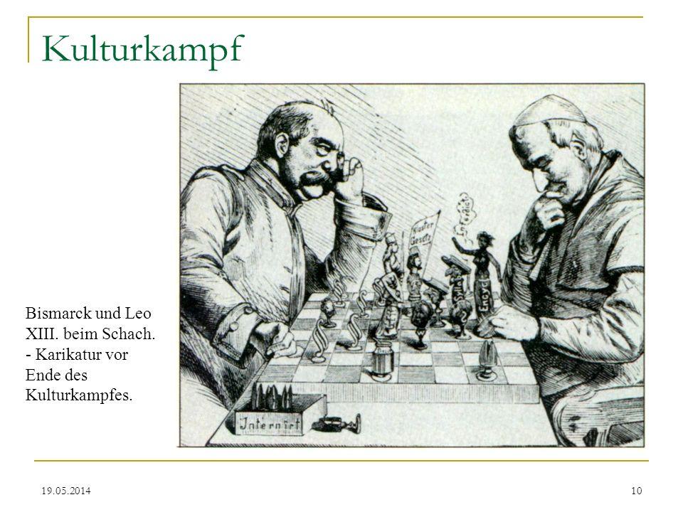 19.05.2014 Kulturkampf Bismarck und Leo XIII. beim Schach. - Karikatur vor Ende des Kulturkampfes. 10