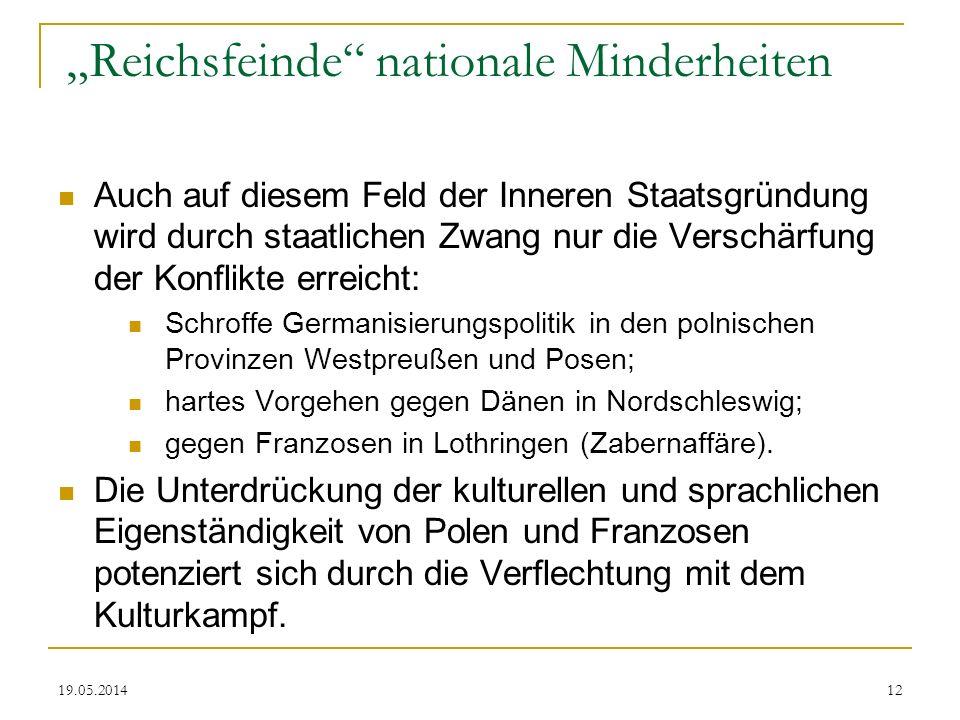 19.05.2014 Reichsfeinde nationale Minderheiten Auch auf diesem Feld der Inneren Staatsgründung wird durch staatlichen Zwang nur die Verschärfung der K