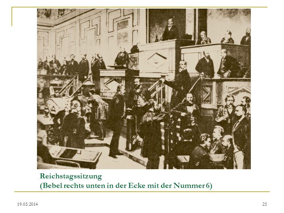 Reichstagssitzung (Bebel rechts unten in der Ecke mit der Nummer 6) 19.05.201425