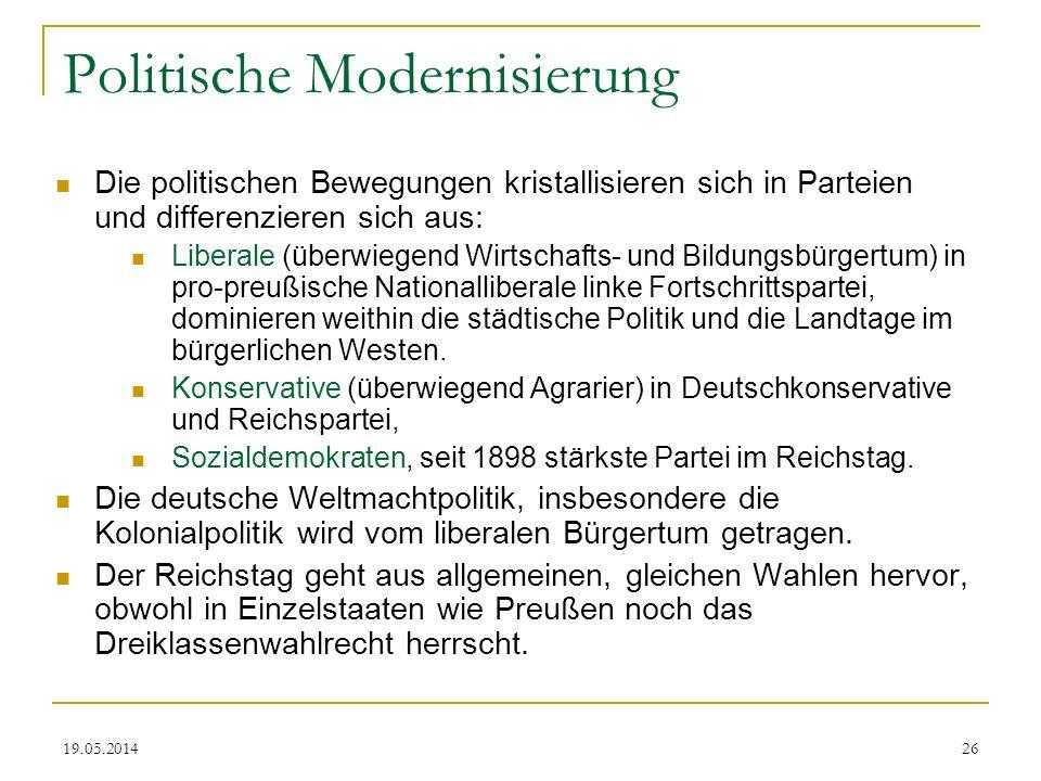 19.05.2014 Politische Modernisierung Die politischen Bewegungen kristallisieren sich in Parteien und differenzieren sich aus: Liberale (überwiegend Wi