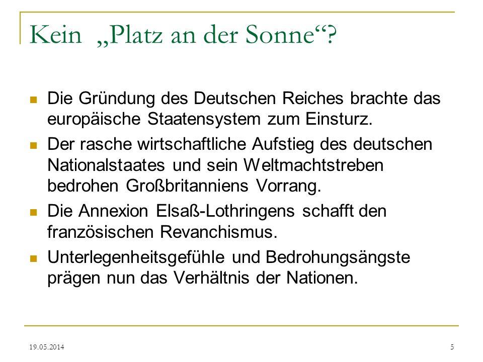 19.05.2014 Kein Platz an der Sonne? Die Gründung des Deutschen Reiches brachte das europäische Staatensystem zum Einsturz. Der rasche wirtschaftliche