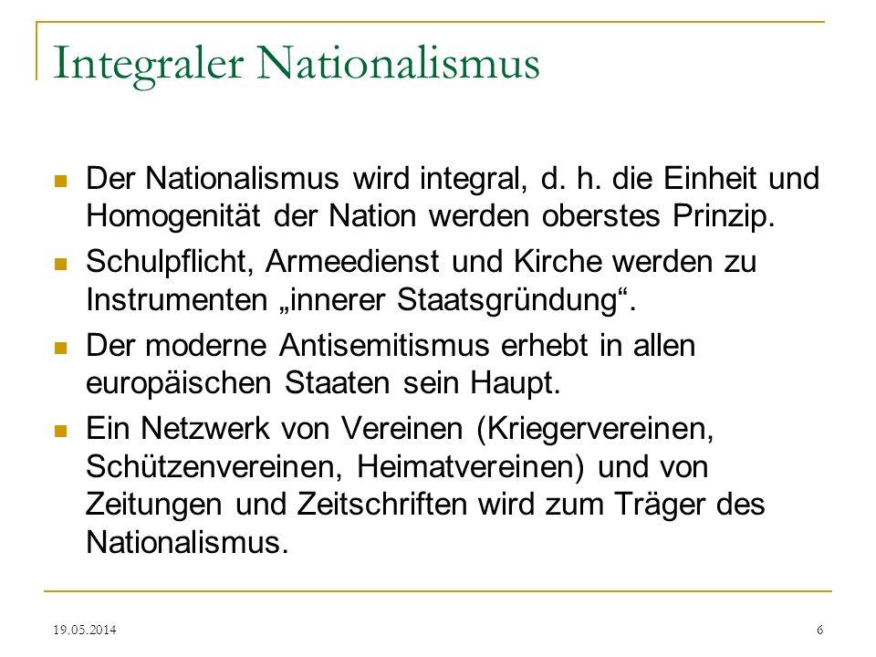 19.05.2014 Integraler Nationalismus Der Nationalismus wird integral, d. h. die Einheit und Homogenität der Nation werden oberstes Prinzip. Schulpflich