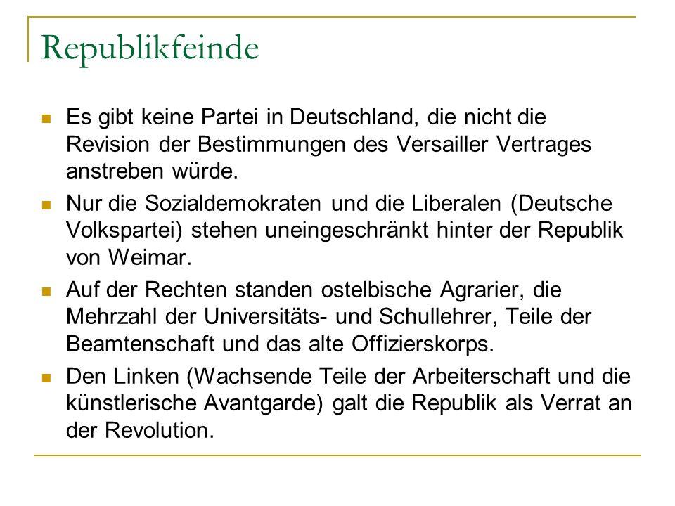 Republikfeinde Es gibt keine Partei in Deutschland, die nicht die Revision der Bestimmungen des Versailler Vertrages anstreben würde. Nur die Sozialde