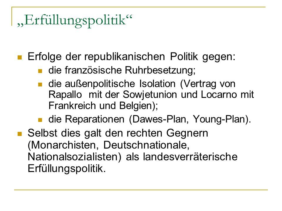 Erfüllungspolitik Erfolge der republikanischen Politik gegen: die französische Ruhrbesetzung; die außenpolitische Isolation (Vertrag von Rapallo mit d