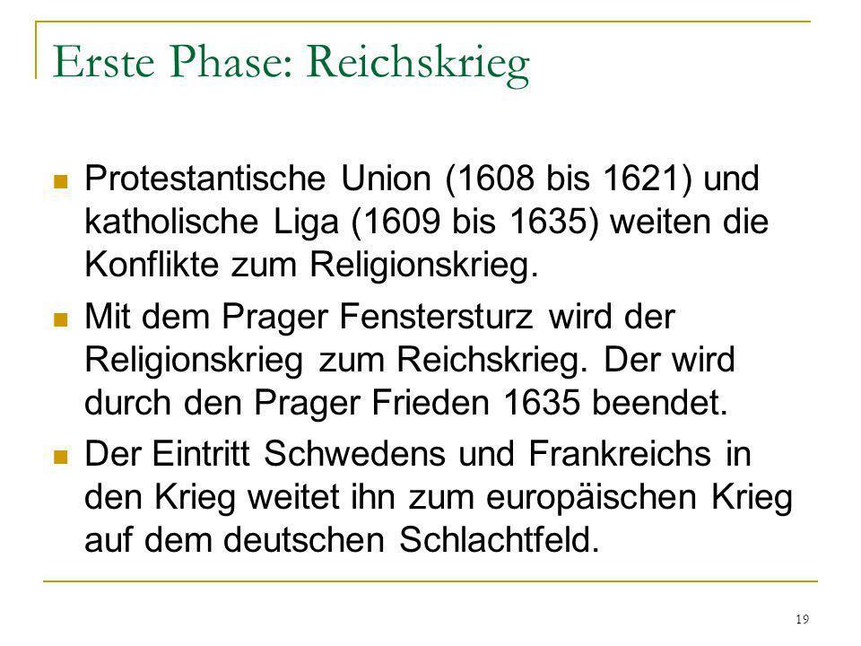 19 Erste Phase: Reichskrieg Protestantische Union (1608 bis 1621) und katholische Liga (1609 bis 1635) weiten die Konflikte zum Religionskrieg. Mit de