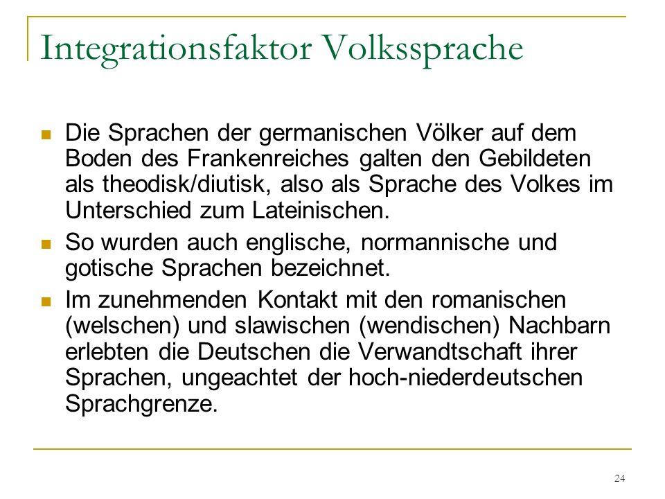 24 Integrationsfaktor Volkssprache Die Sprachen der germanischen Völker auf dem Boden des Frankenreiches galten den Gebildeten als theodisk/diutisk, also als Sprache des Volkes im Unterschied zum Lateinischen.