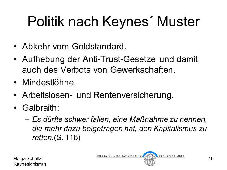 Helga Schultz: Keynesianismus 15 Politik nach Keynes´ Muster Abkehr vom Goldstandard. Aufhebung der Anti-Trust-Gesetze und damit auch des Verbots von