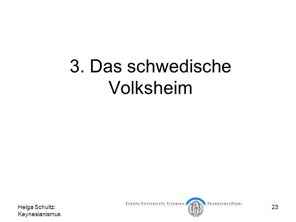 Helga Schultz: Keynesianismus 23 3. Das schwedische Volksheim