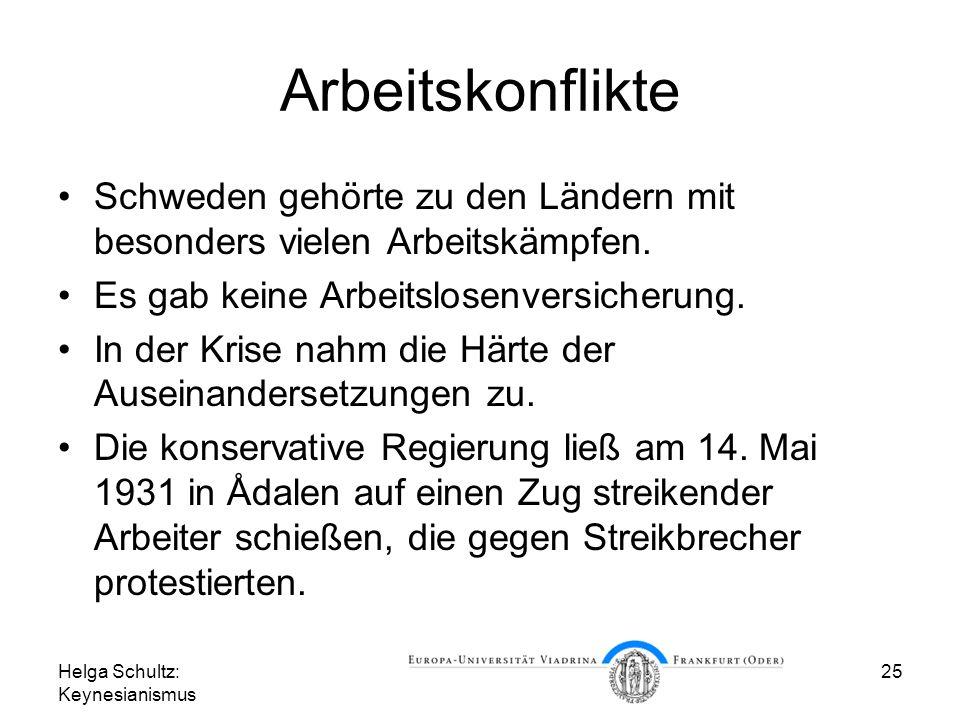Helga Schultz: Keynesianismus 25 Arbeitskonflikte Schweden gehörte zu den Ländern mit besonders vielen Arbeitskämpfen. Es gab keine Arbeitslosenversic
