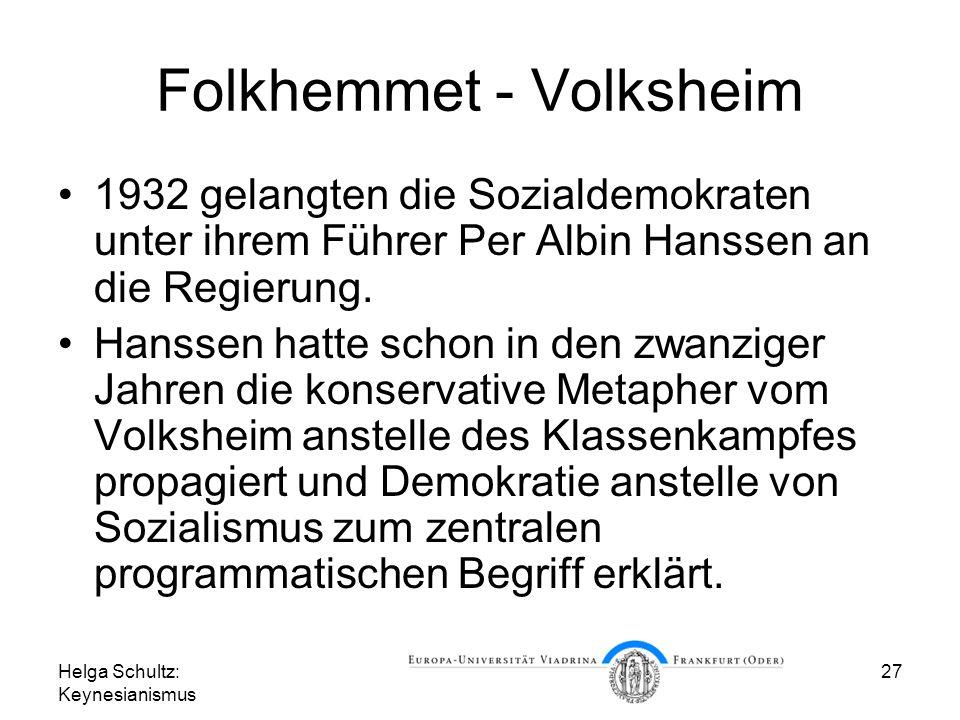 Helga Schultz: Keynesianismus 27 Folkhemmet - Volksheim 1932 gelangten die Sozialdemokraten unter ihrem Führer Per Albin Hanssen an die Regierung. Han