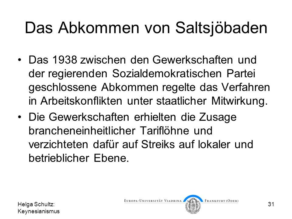 Helga Schultz: Keynesianismus 31 Das Abkommen von Saltsjöbaden Das 1938 zwischen den Gewerkschaften und der regierenden Sozialdemokratischen Partei geschlossene Abkommen regelte das Verfahren in Arbeitskonflikten unter staatlicher Mitwirkung.