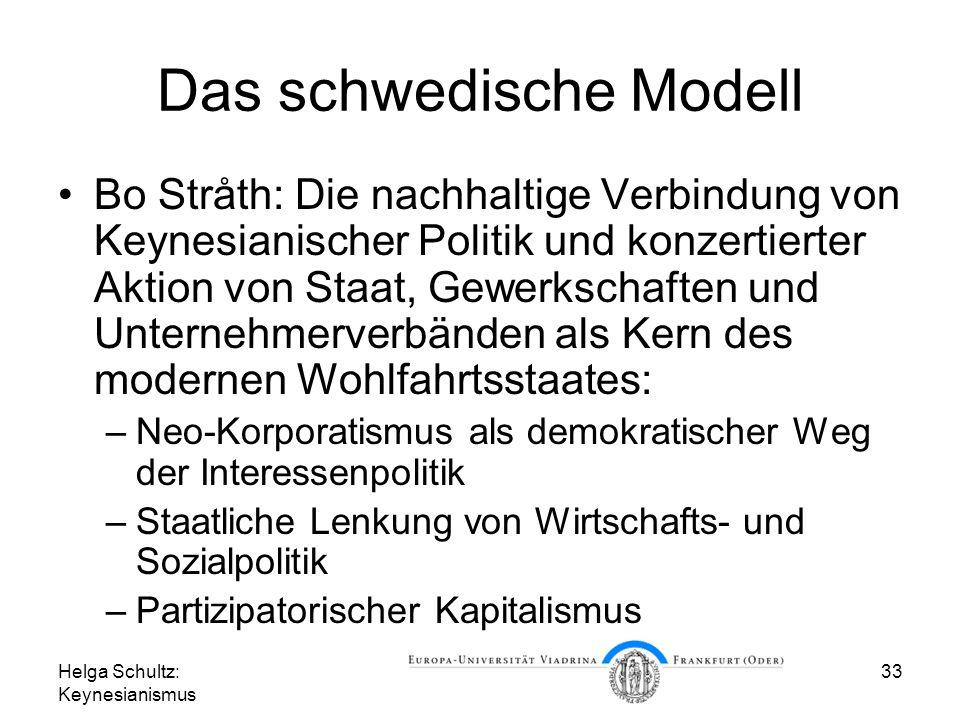 Helga Schultz: Keynesianismus 33 Das schwedische Modell Bo Stråth: Die nachhaltige Verbindung von Keynesianischer Politik und konzertierter Aktion von