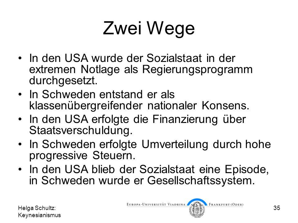 Helga Schultz: Keynesianismus 35 Zwei Wege In den USA wurde der Sozialstaat in der extremen Notlage als Regierungsprogramm durchgesetzt. In Schweden e