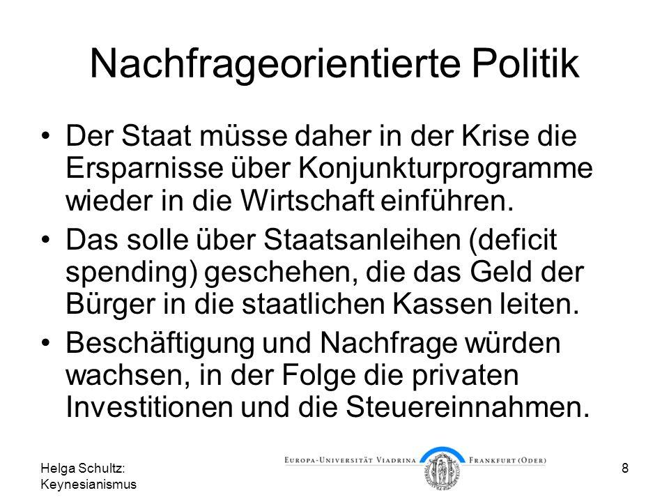Helga Schultz: Keynesianismus 8 Nachfrageorientierte Politik Der Staat müsse daher in der Krise die Ersparnisse über Konjunkturprogramme wieder in die Wirtschaft einführen.