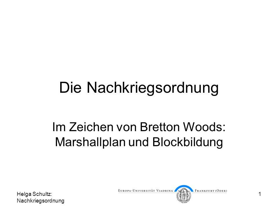 Helga Schultz: Nachkriegsordnung 2 Gliederung Europa am Ende des Krieges Unter der Hegemonie der USA in Richtung Freihandel Marshallplan und Blockbildung