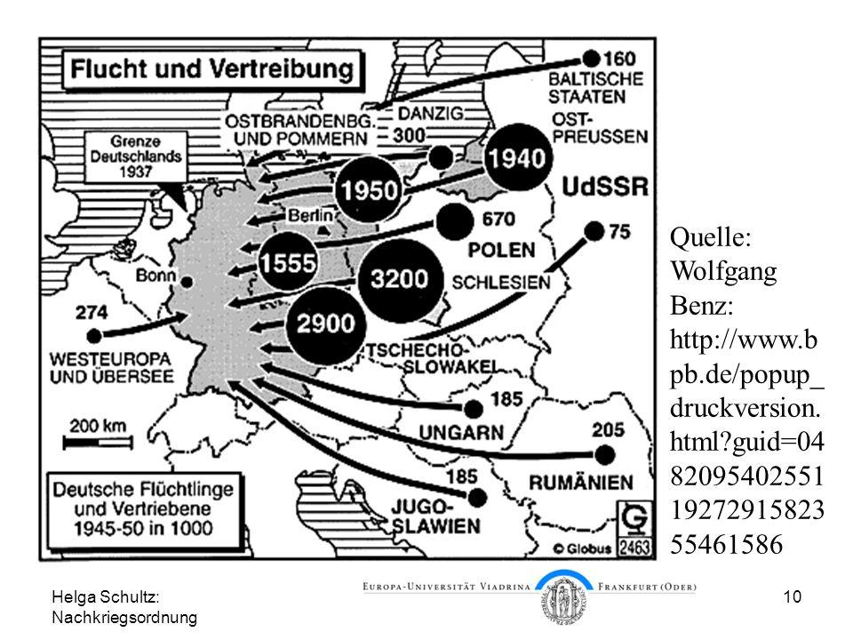 Helga Schultz: Nachkriegsordnung 10 Flucht und Vertreibung Quelle: Wolfgang Benz: http://www.b pb.de/popup_ druckversion. html?guid=04 82095402551 192