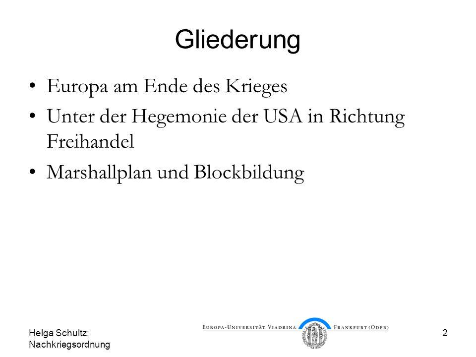 Helga Schultz: Nachkriegsordnung 2 Gliederung Europa am Ende des Krieges Unter der Hegemonie der USA in Richtung Freihandel Marshallplan und Blockbild