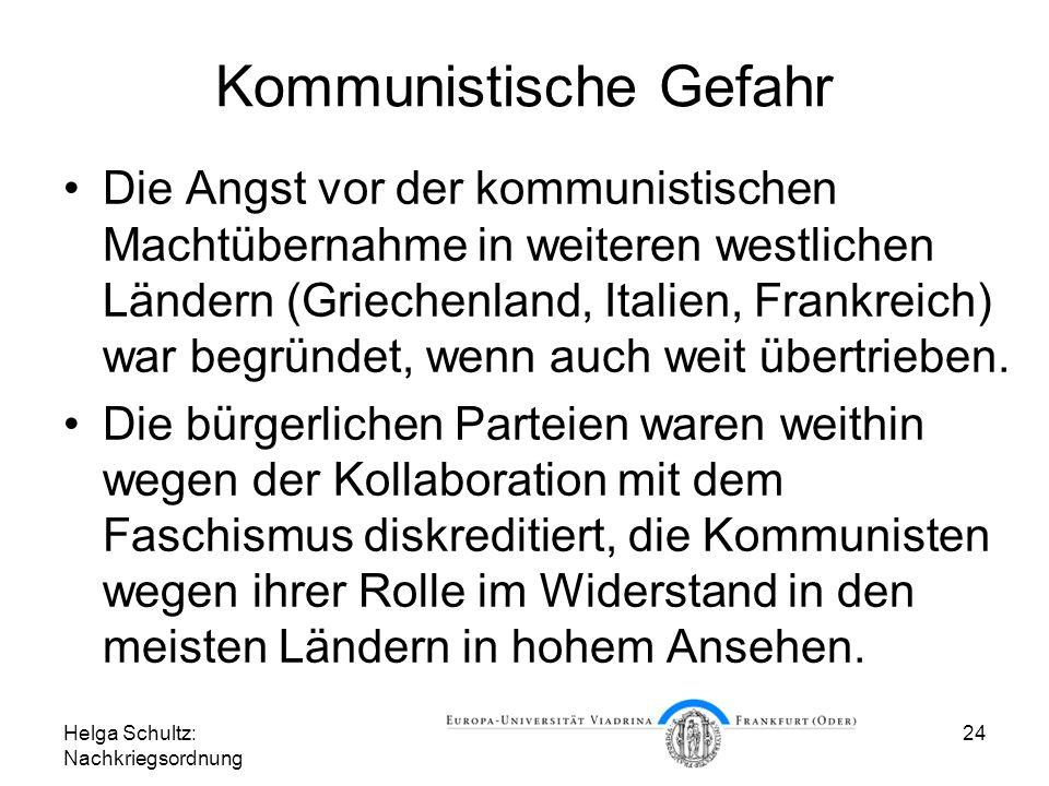 Helga Schultz: Nachkriegsordnung 24 Kommunistische Gefahr Die Angst vor der kommunistischen Machtübernahme in weiteren westlichen Ländern (Griechenlan