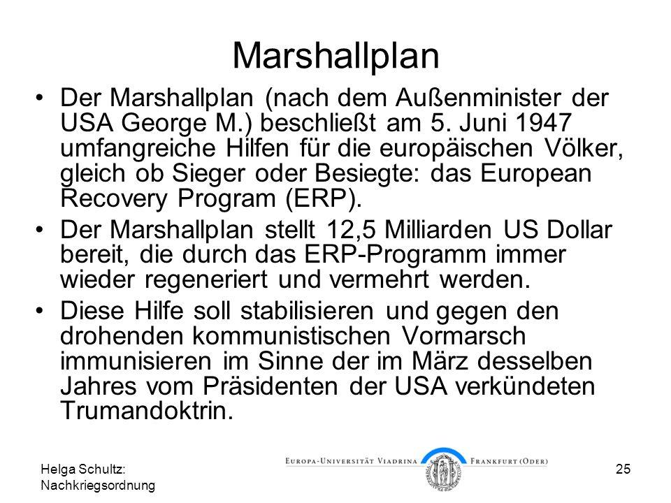 Helga Schultz: Nachkriegsordnung 25 Marshallplan Der Marshallplan (nach dem Außenminister der USA George M.) beschließt am 5. Juni 1947 umfangreiche H