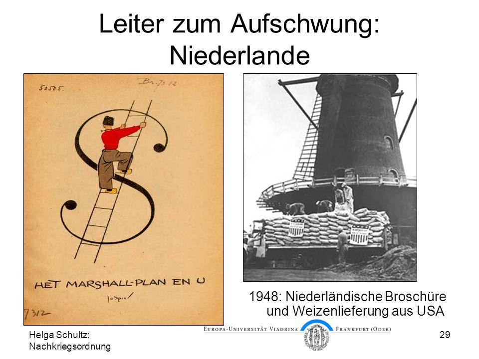 Helga Schultz: Nachkriegsordnung 29 Leiter zum Aufschwung: Niederlande 1948: Niederländische Broschüre und Weizenlieferung aus USA
