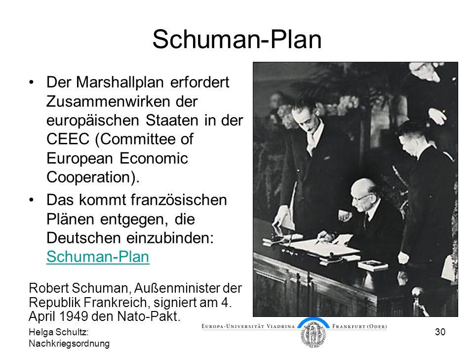 Helga Schultz: Nachkriegsordnung 30 Schuman-Plan Der Marshallplan erfordert Zusammenwirken der europäischen Staaten in der CEEC (Committee of European