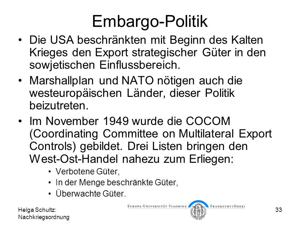Helga Schultz: Nachkriegsordnung 33 Embargo-Politik Die USA beschränkten mit Beginn des Kalten Krieges den Export strategischer Güter in den sowjetisc