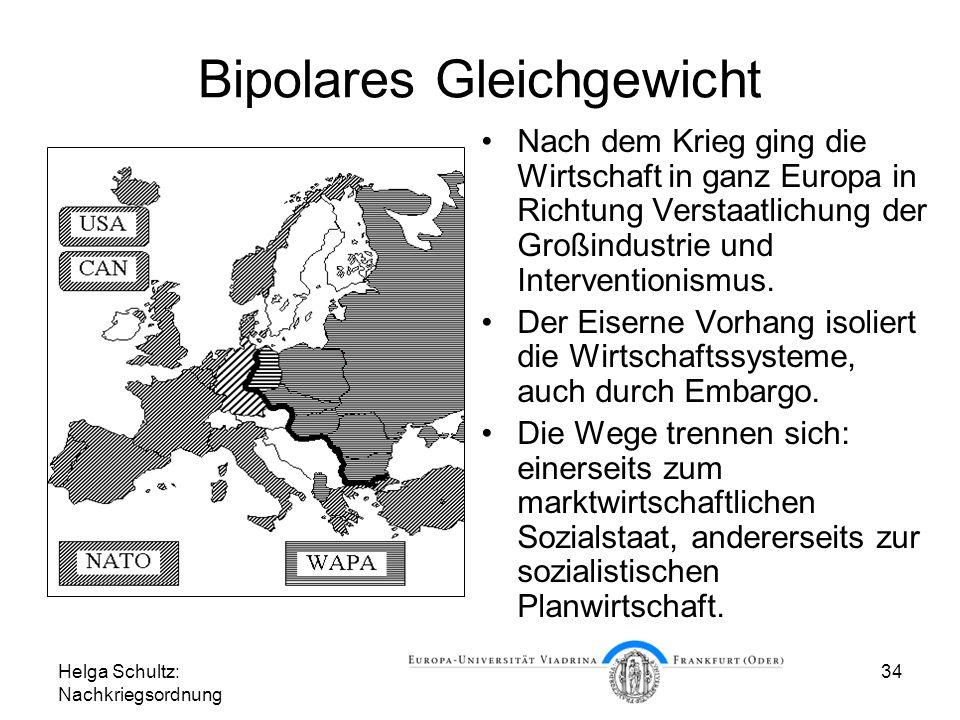 Helga Schultz: Nachkriegsordnung 34 Bipolares Gleichgewicht Nach dem Krieg ging die Wirtschaft in ganz Europa in Richtung Verstaatlichung der Großindu