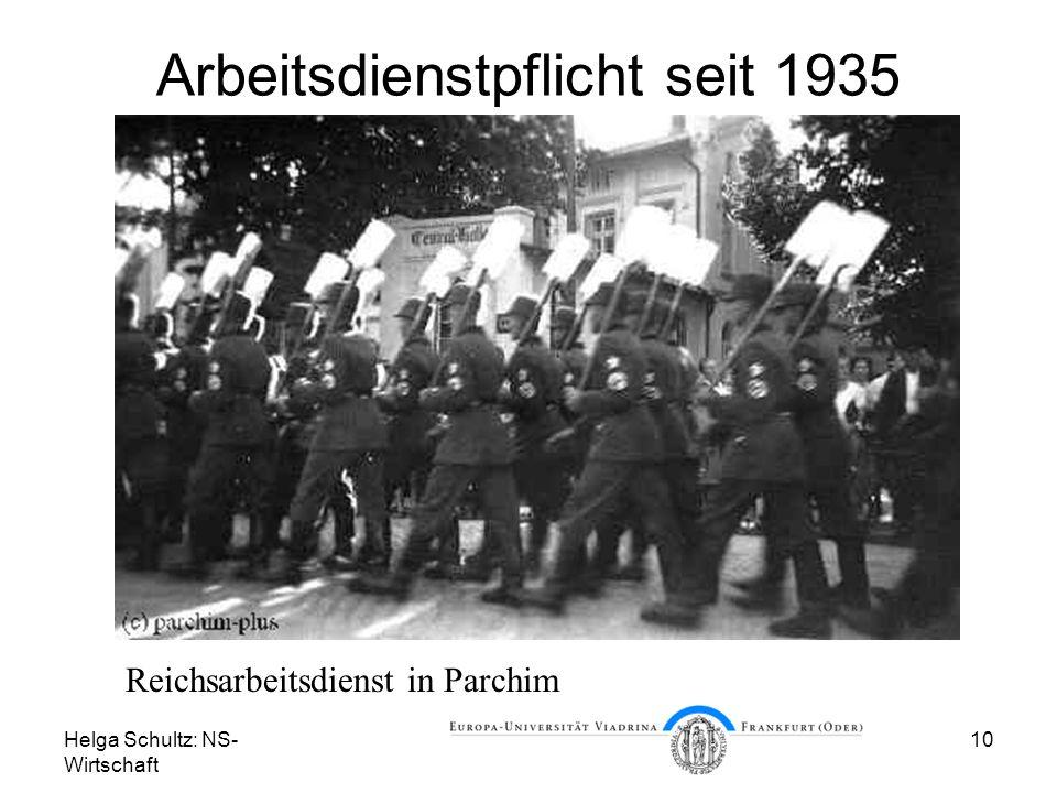 Helga Schultz: NS- Wirtschaft 10 Arbeitsdienstpflicht seit 1935 Reichsarbeitsdienst in Parchim