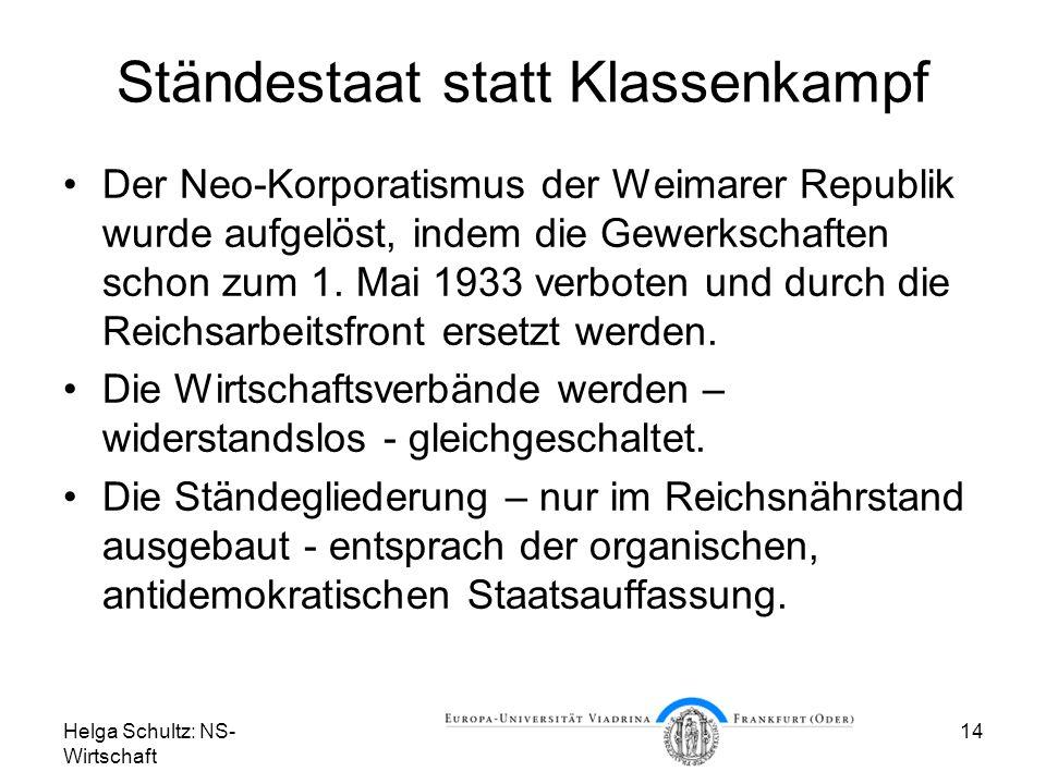 Helga Schultz: NS- Wirtschaft 14 Ständestaat statt Klassenkampf Der Neo-Korporatismus der Weimarer Republik wurde aufgelöst, indem die Gewerkschaften