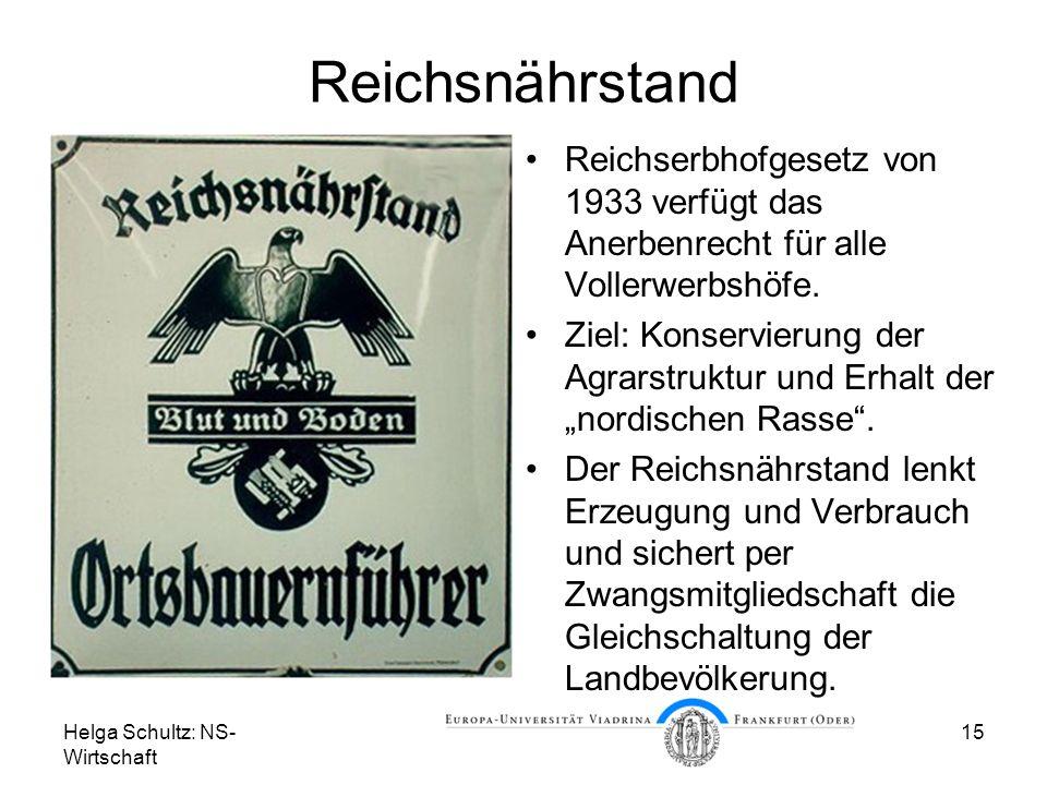 Helga Schultz: NS- Wirtschaft 15 Reichsnährstand Reichserbhofgesetz von 1933 verfügt das Anerbenrecht für alle Vollerwerbshöfe. Ziel: Konservierung de