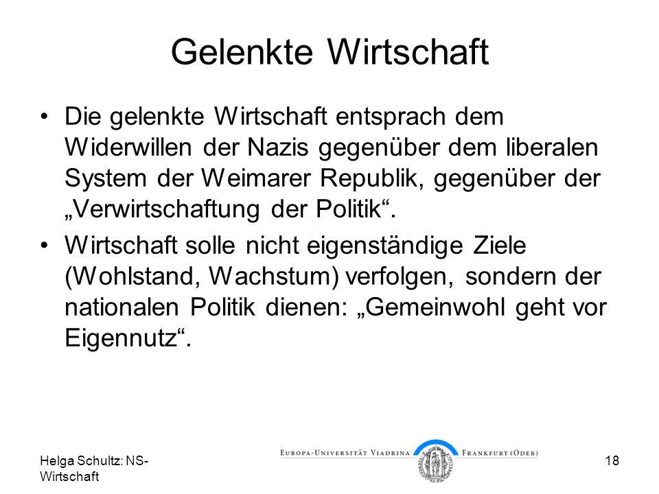 Helga Schultz: NS- Wirtschaft 18 Gelenkte Wirtschaft Die gelenkte Wirtschaft entsprach dem Widerwillen der Nazis gegenüber dem liberalen System der We