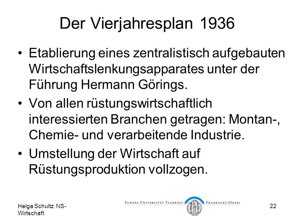 Helga Schultz: NS- Wirtschaft 22 Der Vierjahresplan 1936 Etablierung eines zentralistisch aufgebauten Wirtschaftslenkungsapparates unter der Führung H