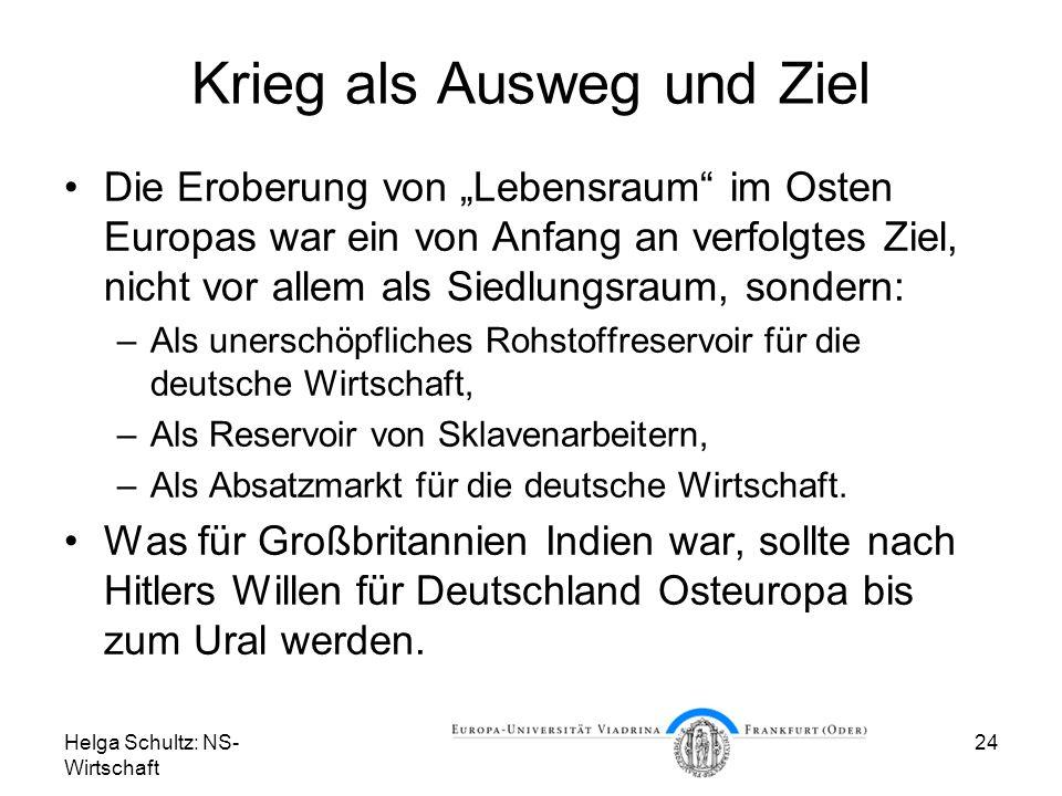 Helga Schultz: NS- Wirtschaft 24 Krieg als Ausweg und Ziel Die Eroberung von Lebensraum im Osten Europas war ein von Anfang an verfolgtes Ziel, nicht