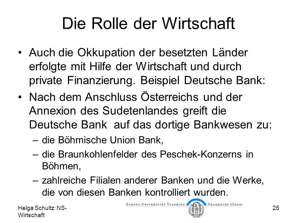 Helga Schultz: NS- Wirtschaft 25 Die Rolle der Wirtschaft Auch die Okkupation der besetzten Länder erfolgte mit Hilfe der Wirtschaft und durch private