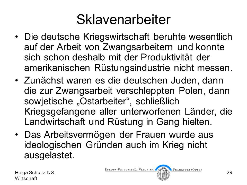 Helga Schultz: NS- Wirtschaft 29 Sklavenarbeiter Die deutsche Kriegswirtschaft beruhte wesentlich auf der Arbeit von Zwangsarbeitern und konnte sich s