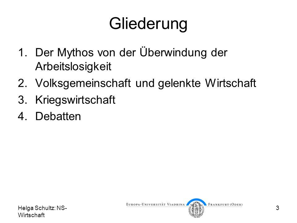 Helga Schultz: NS- Wirtschaft 3 Gliederung 1.Der Mythos von der Überwindung der Arbeitslosigkeit 2.Volksgemeinschaft und gelenkte Wirtschaft 3.Kriegsw