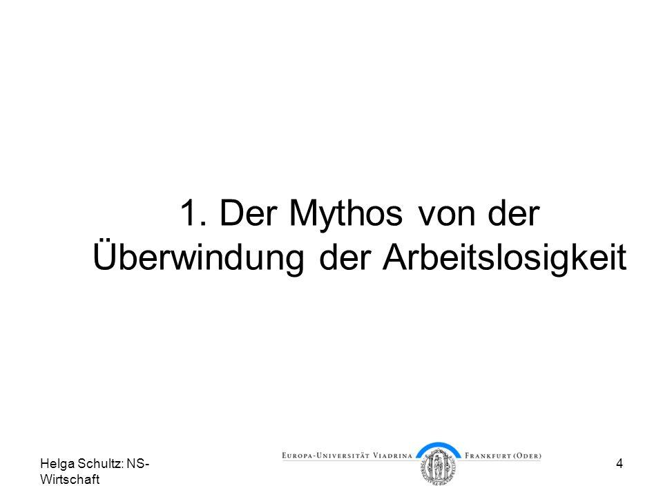 Helga Schultz: NS- Wirtschaft 4 1. Der Mythos von der Überwindung der Arbeitslosigkeit