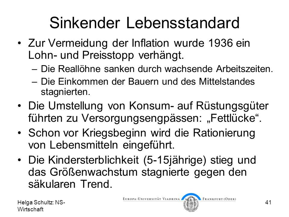 Helga Schultz: NS- Wirtschaft 41 Sinkender Lebensstandard Zur Vermeidung der Inflation wurde 1936 ein Lohn- und Preisstopp verhängt. –Die Reallöhne sa