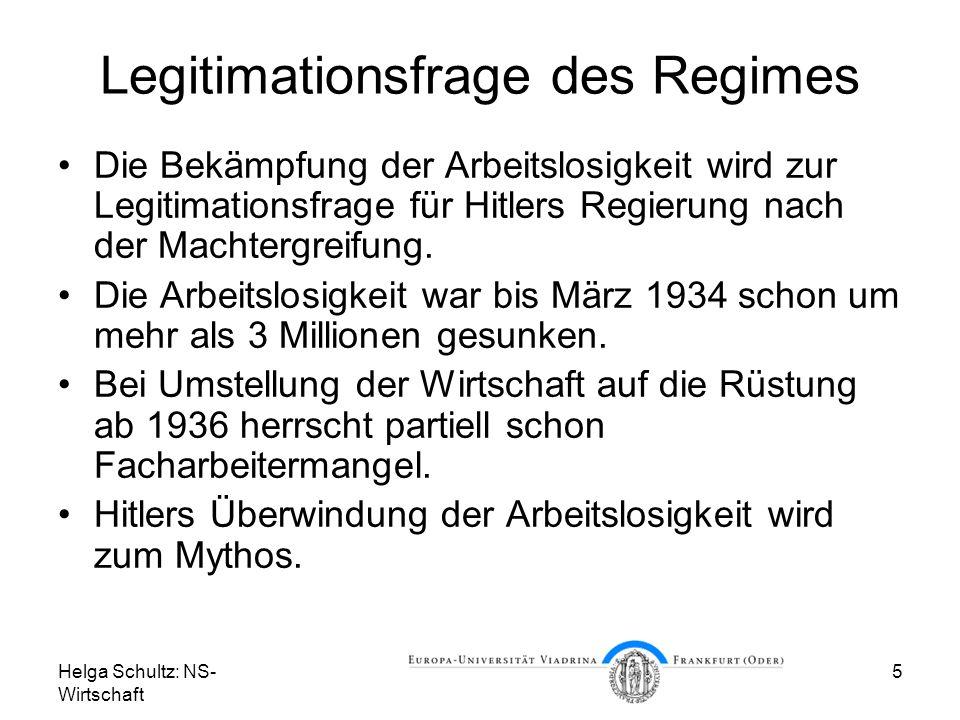 Helga Schultz: NS- Wirtschaft 5 Legitimationsfrage des Regimes Die Bekämpfung der Arbeitslosigkeit wird zur Legitimationsfrage für Hitlers Regierung n