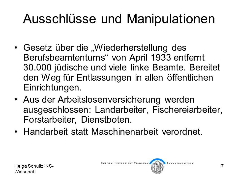 Helga Schultz: NS- Wirtschaft 7 Ausschlüsse und Manipulationen Gesetz über die Wiederherstellung des Berufsbeamtentums von April 1933 entfernt 30.000