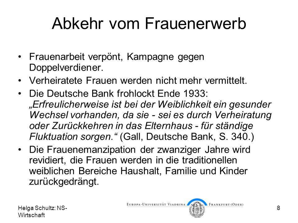 Helga Schultz: NS- Wirtschaft 8 Abkehr vom Frauenerwerb Frauenarbeit verpönt, Kampagne gegen Doppelverdiener. Verheiratete Frauen werden nicht mehr ve