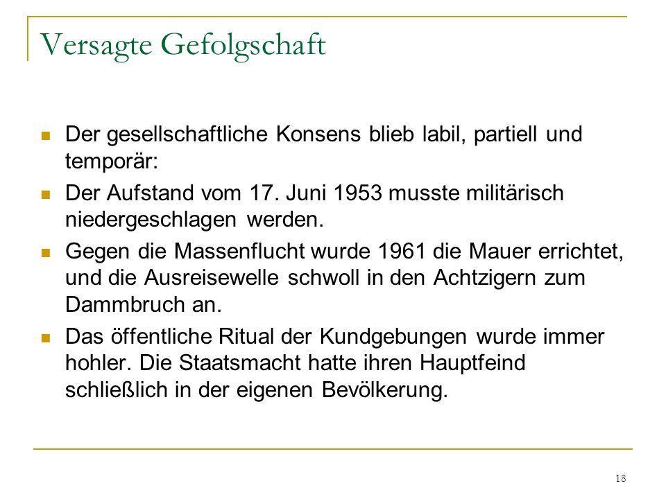 18 Versagte Gefolgschaft Der gesellschaftliche Konsens blieb labil, partiell und temporär: Der Aufstand vom 17. Juni 1953 musste militärisch niederges