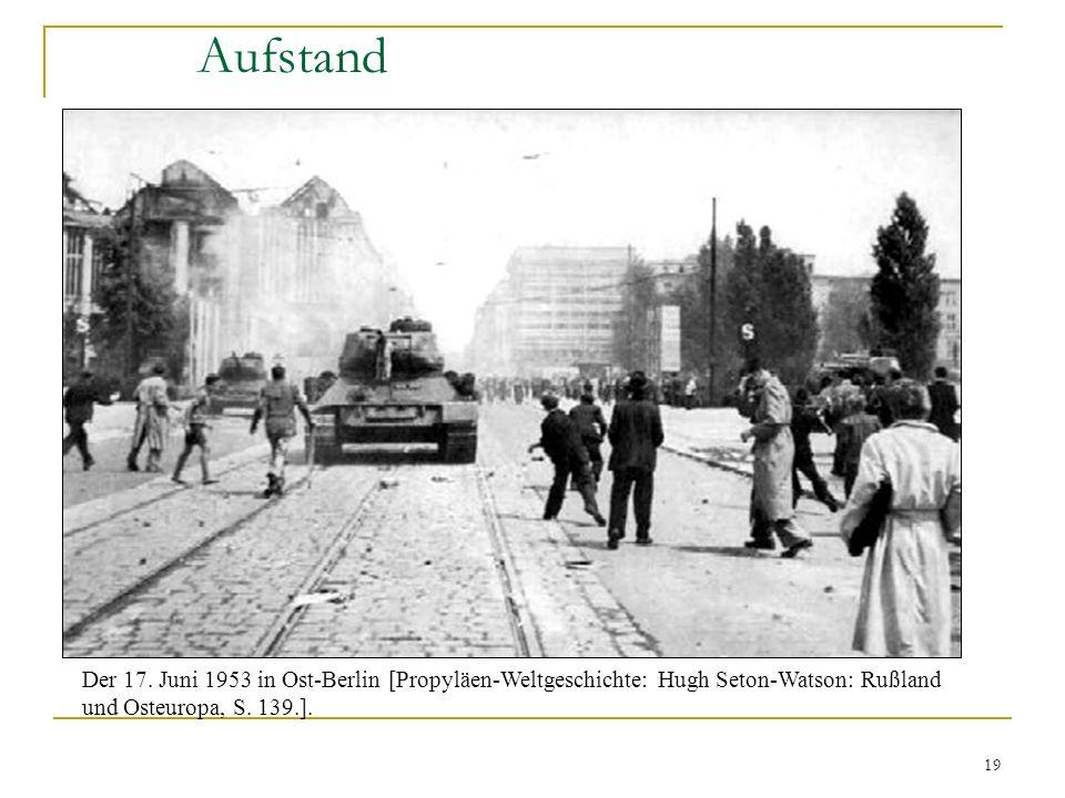 19 Aufstand Der 17. Juni 1953 in Ost-Berlin [Propyläen-Weltgeschichte: Hugh Seton-Watson: Rußland und Osteuropa, S. 139.].
